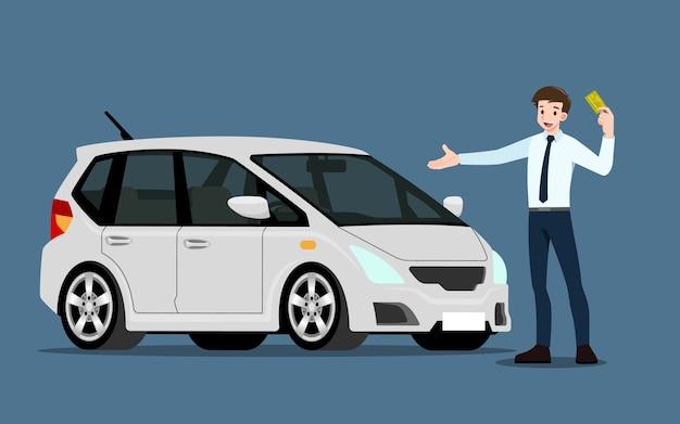 Als glücklicher geschäftsmann steht der verkäufer und präsentiert seine fahrzeuge zum verkauf oder zur miete, die im laden geparkt sind. geschäftsleute oder autohändler zeigen sein neues auto im ausstellungsraum. illustration