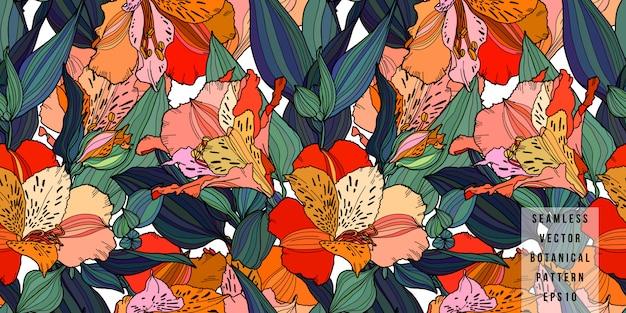 Alstroemeria hand gezeichnete multi farbblumen mit nahtlosem muster der blätter.