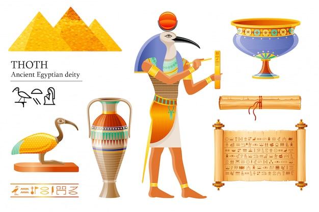Altägyptischer thoth, gott der weisheit, hieroglyphenschrift. ibis-vogelgottheit, papyrusrolle, vase, topf. alte wandmalerei-kunstikone aus ägypten.