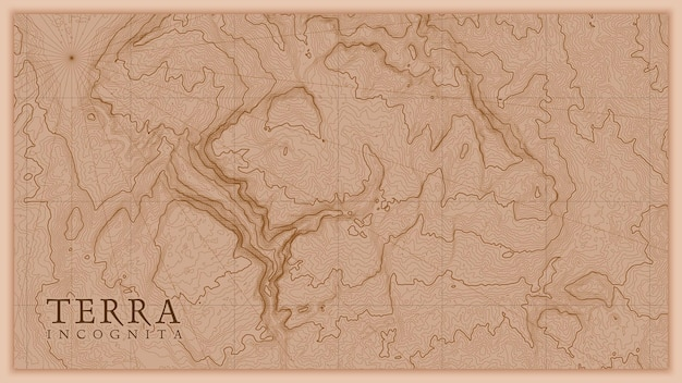 Alte abstrakte erde relief alte karte. generierte konzeptionelle höhenkarte der fantasielandschaft.