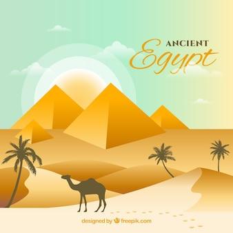 Alte ägypten-zusammensetzung mit flachem design