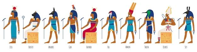 Alte ägyptische götter. ägyptische kulturgötter, anubis, osiris, isis, bastet und amun ra. historischer ägyptischer kulturcharakter-illustrationssatz. alter malstil, religiöse elemente