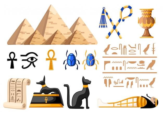 Alte ägyptische symbole und dekoration ägypten ikonen illustration auf weißem hintergrund website-seite und mobile app