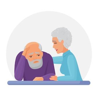 Alte ältere frau, die depressiven ehemann unterstützt