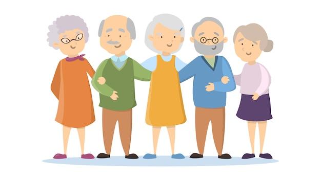 Alte ältere leute stellten auf weißen hintergrund ein. glückliche lächelnde leute.