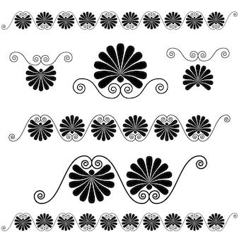 Alte altgriechische ornament-, vektor- und illustrationssymbole gesetzt