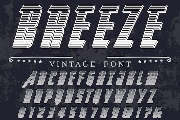 Alte art schrift etikett design brise