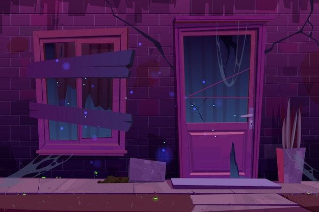 Alte backsteinhausfassade mit zerbrochener tür und vernageltem fenster in der nacht cartoon-illustration eines verlassenen wohngebäudes mit rissen in wand und türglas