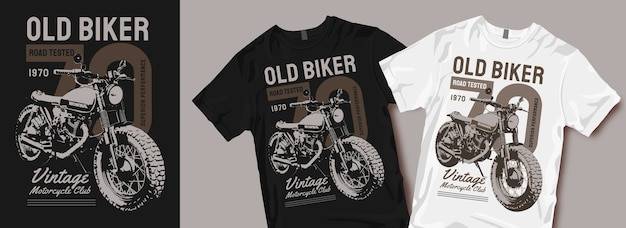 Alte biker vintage motorrad t-shirt design ware
