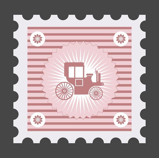 Alte briefmarke mit dem bild von fahrzeugen,