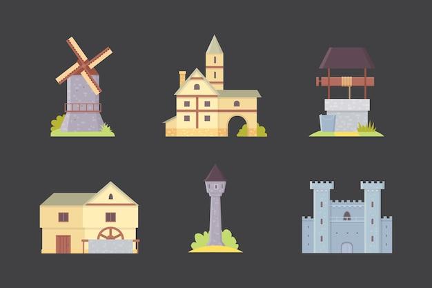 Alte burg, europa palast gebäude illustrationen. mittelalterliche historische gebäude, architekturtürme und alte stadthäuser.