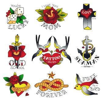 Alte embleme der tätowierschule