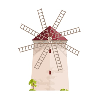 Alte europäische windmühle lokalisiert auf weiß