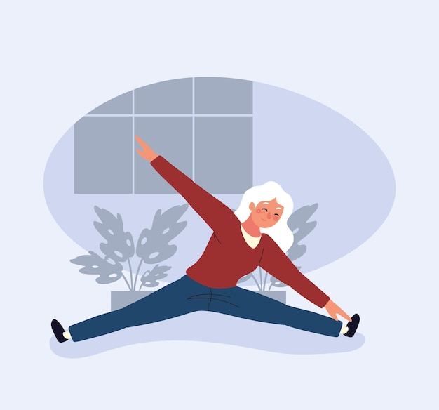Alte frau beim yoga