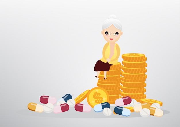 Alte frau, die auf münzen, geschäft und gesundheit sitzt