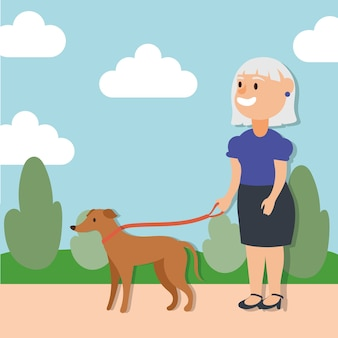 Alte frau, die mit dem aktiven älteren charakter des hundes geht