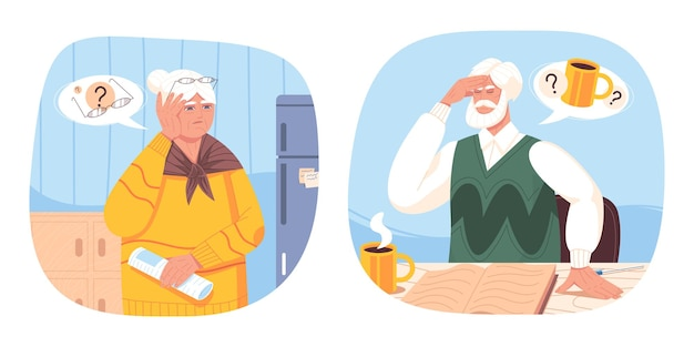 Alte frau und älterer mann leiden an demenz, alzheimer, vergesslichkeit. ältere menschen mit schwierigkeiten beim klaren denken, psychischen erkrankungen, gehirnproblemen, gesundheitsstörungen oder verlust des kurzzeitgedächtnisses
