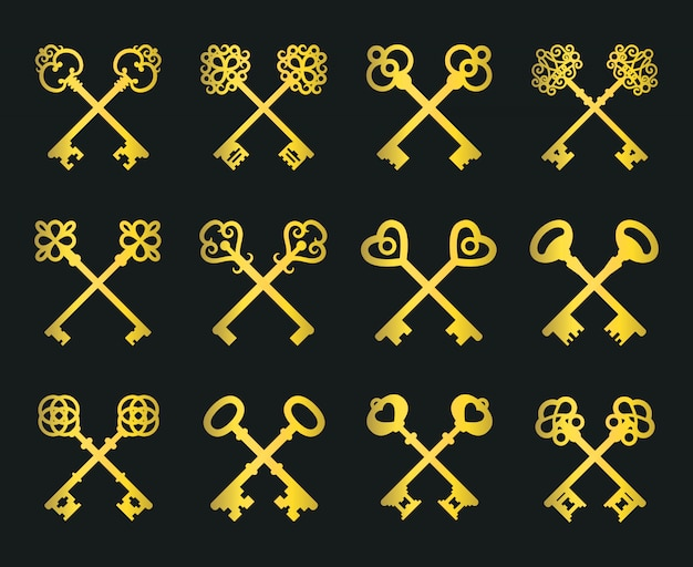 Alte goldene gekreuzte schlüssel eingestellt