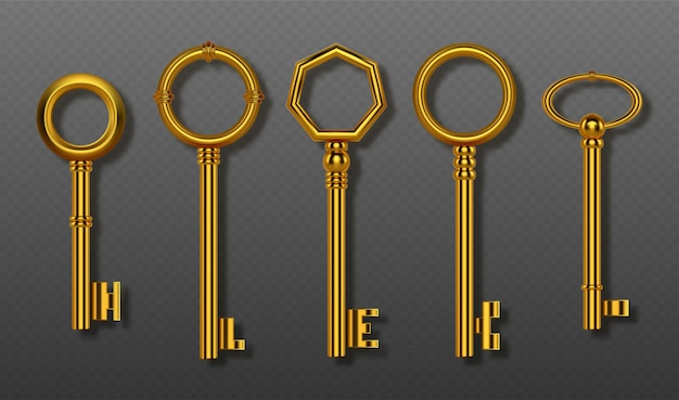 Alte goldschlüssel sammlung clipping path realistischen satz von vintage dekorative goldene schlüssel für schloss haustür oder schatz d glänzende symbole der geheimen sicherheit und privatsphäre isoliert