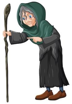Alte hexe, die stab hält