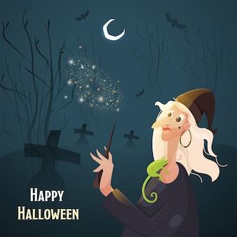 Alte hexe, die zauberstab mit chamäleon, fliegenden fledermäusen und halbmond auf blaugrünem friedhofshintergrund für glückliche halloween-feier hält.