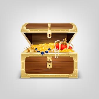 Alte hölzerne truhe mit realistischer zusammensetzung der schätze mit bild der mit goldenen gegenständen gefüllten schatzkiste