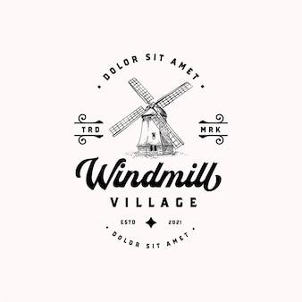 Alte holländische windmühle hand gezeichnete vintage logo-vorlage