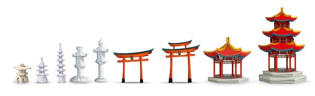 Alte japanische kulturobjekte, die mit tor, pagode, tempel, garten, japanische laterne lokalisierte illustration gesetzt werden. japan set sammlung