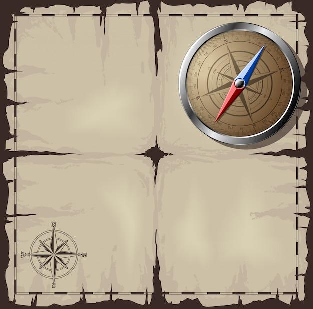 Alte karte mit stahlkompass