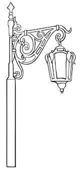Alte laterne, straßenbeleuchtung, lineare schwarz-weiß-zeichnung.