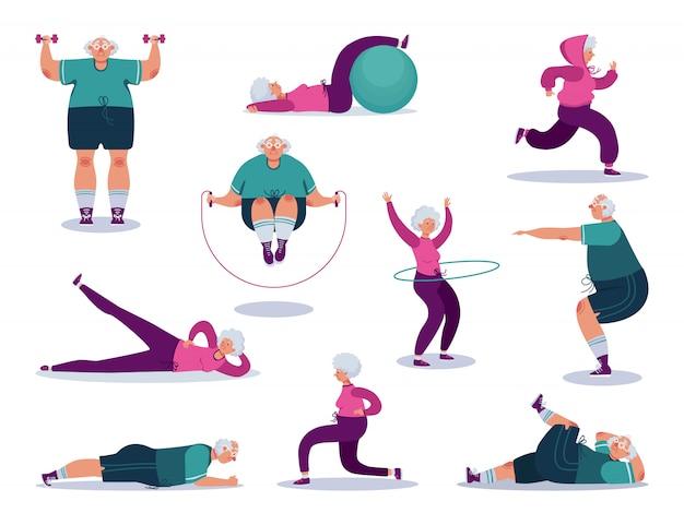 Alte leute, die im fitnessstudio auf charakterkarikaturaktivität lokalisiert auf weiß trainieren.