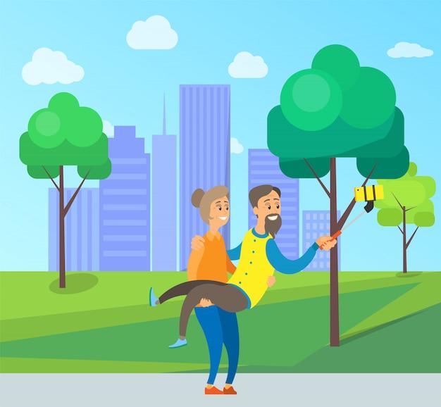 Alte leute, die selfie-foto im stadt-stadtpark machen