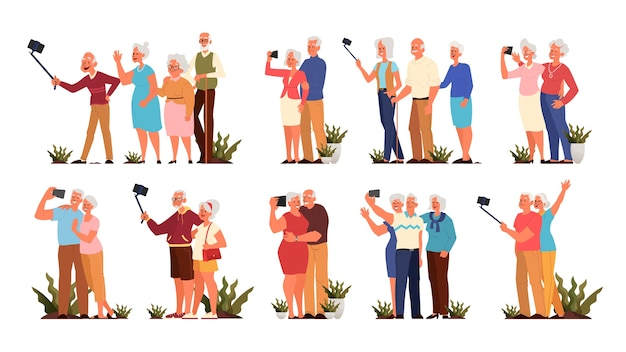 Alte leute, die selfie zusammen nehmen, setzen. ältere charaktere, die fotos von sich selbst machen. lebenskonzept der alten leute. senioren mit einem aktiven sozialen leben. stil