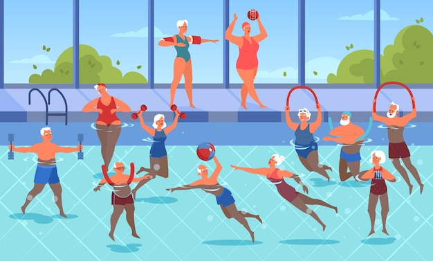 Alte leute, die übung mit ball und hantel im schwimmbad machen. ältere charaktere haben ein aktives leben. senior im wasser. illustration