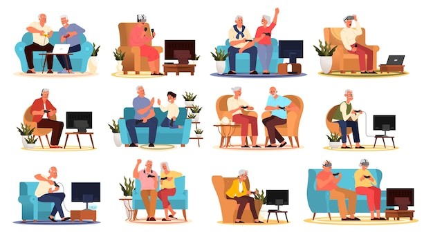 Alte leute, die videospiele spielen. senioren erwachsene spielen videospiele mit konsolen-controller und vr-gerät. ältere charaktere haben ein modernes leben.