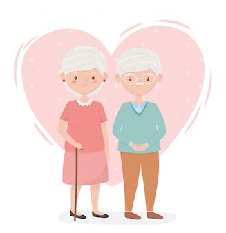 Alte leute, großeltern des niedlichen paares, ältere personen, zeichentrickfiguren der familienmitglieder