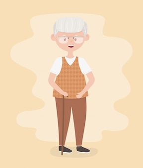 Alte leute, großvater des großvaters des älteren mannes, reife person, zeichentrickfigur