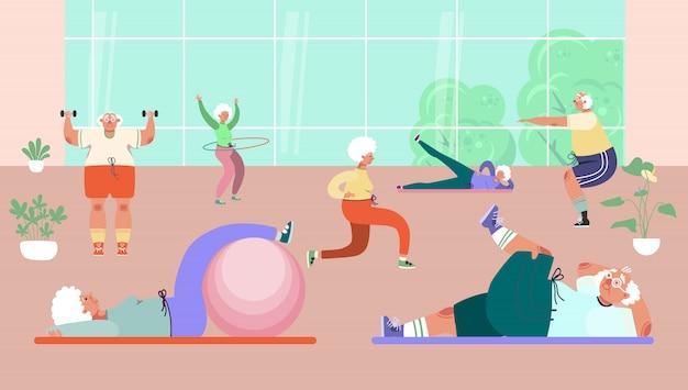 Alte leute gruppe, die übungen im fitnessstudio, illustration macht. gesunde aktivität für senior mann frau charakter, sport und fitness