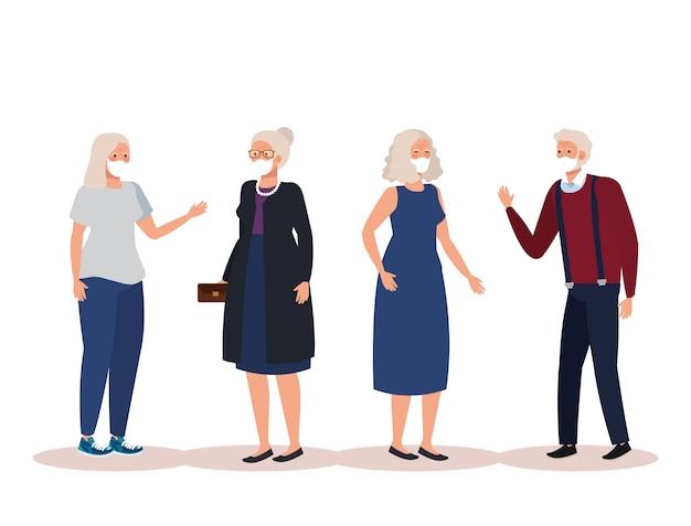 Alte leute mit gesichtsmasken-avatar-charakter