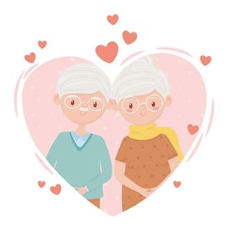 Alte leute, niedliches paar oma und opa in liebesherz-comicfiguren