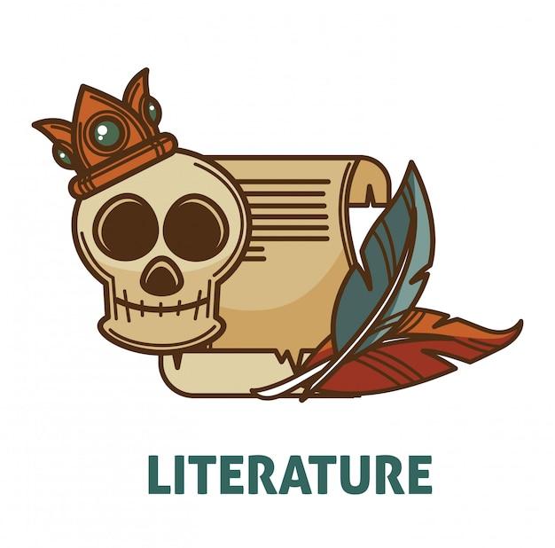 Alte literatur der weinlese und poesiebuch mit schädelvektor lokalisierten ikone für poesieliteratur oder buchhandlungsbibliotheksdesign