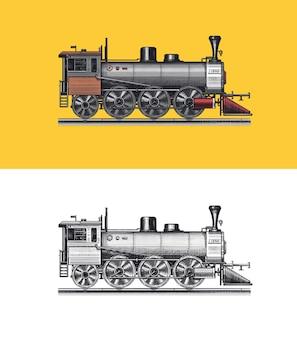 Alte lokomotive oder zug auf eisenbahn retro-transport gravierte vintage handgezeichnete skizze für t-shirt