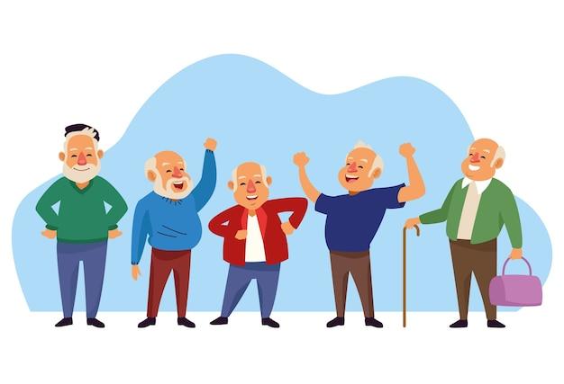 Alte männer gruppieren aktive seniorencharaktere.