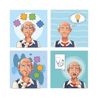 Alte männer patienten mit alzheimer-charakter