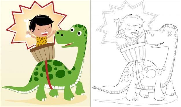 Alte menschliche karikatur mit dinosaurier