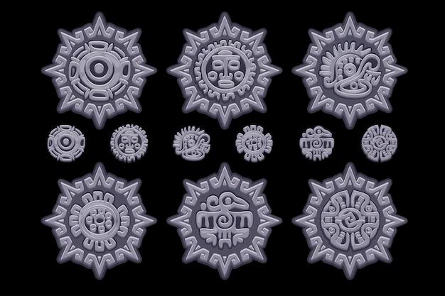 Alte mexikanische mythologiesymbole lokalisiert auf steinamulett. amerikanisches aztekisches, gebürtiges totem der mayakultur. vektorsymbole. objekte auf einer separaten ebene.