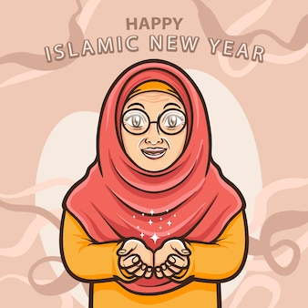 Alte moslemische damen grüßen ein frohes islamisches neues jahr
