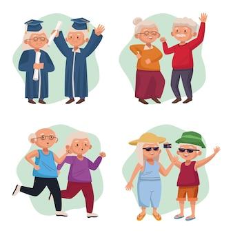 Alte paare gruppieren aktive seniorencharaktere