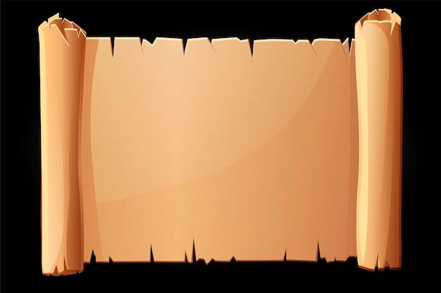 Alte papierrolle, leere papyrusschablone zum schreiben. illustration von papier für manuskript.
