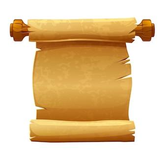 Alte papierrolle, leerer papyrus auf holzbrettschablone zum schreiben. illustration von papier für manuskript.